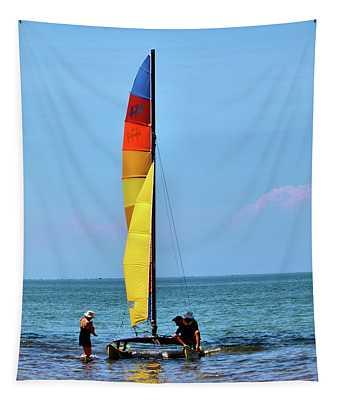 Sailing At Lake Erie Tapestry