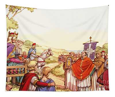 Saint Augustine Arriving In England Tapestry
