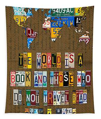 Saint Augustine Travel Quote Recycled Vintage License Plate Letter Word Art Tapestry