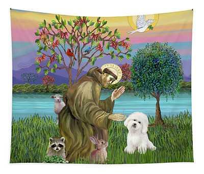 Saint Francis Blesses A Bichon Frise Tapestry