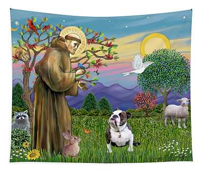 Saint Francis Blesses A Brown And White English Bulldog Tapestry