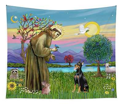 Saint Francis Blesses A Doberman Tapestry