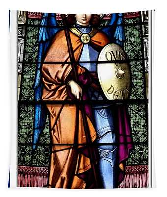 Saint Michael The Archangel Stained Glass Window Tapestry