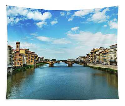 Panoramic View Of Saint Trinity Bridge From Ponte Vecchio In Florence, Italy Tapestry