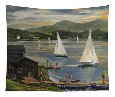 Sailing At Lake Morey Vermont Tapestry
