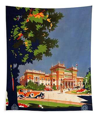 Salsomaggiore Terme, Italy - Thermae Building - Retro Travel Poster - Vintage Poster Tapestry