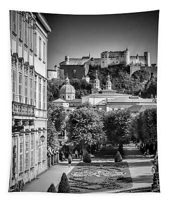 Salzburg Wonderful View To Salzburg Fortress Monochrome Tapestry
