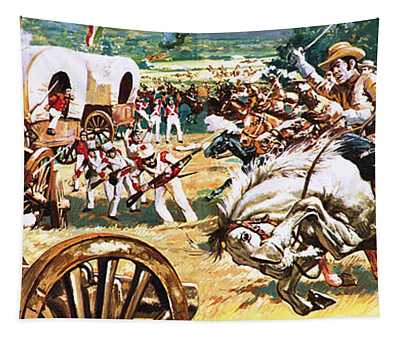 Sam Houston On A White Horse Charging The Mexicans Tapestry