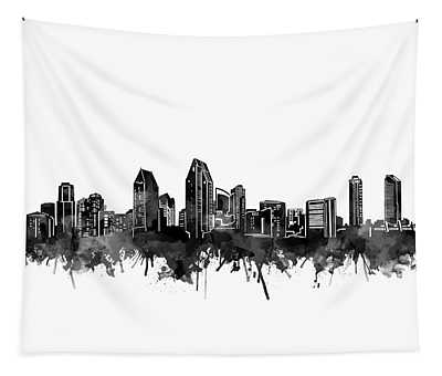 San Diego Skyline Watercolor Black And White Tapestry