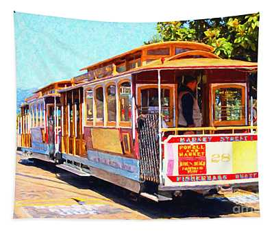 San Francisco Cablecar At Fishermans Wharf . 7d14097 Tapestry