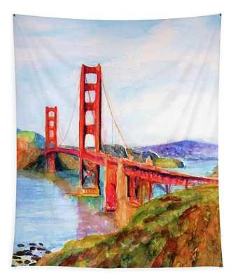 San Francisco Golden Gate Bridge Impressionism Tapestry