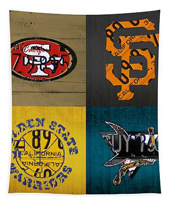 San Francisco Sports Fan Recycled Vintage California License Plate Art 49ers Giants Warriors Sharks Tapestry