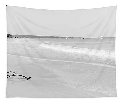 Sand Meets The Sea In Black And White Tapestry