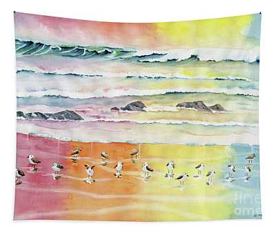 Sand Pipers On Beach Tapestry
