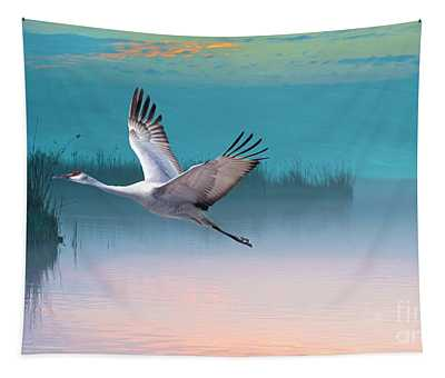 Sandhill Crane And Misty Marshes Tapestry
