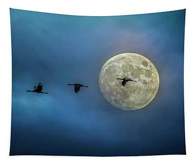 Sandhill Cranes With Full Moon Tapestry