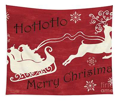 Santa And Reindeer Sleigh Tapestry