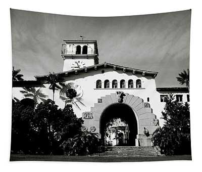 Santa Barbara Courthouse Black And White-by Linda Woods Tapestry