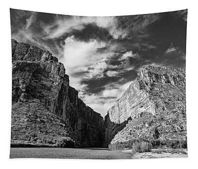 Santa Elena Canyon Black And White Tapestry