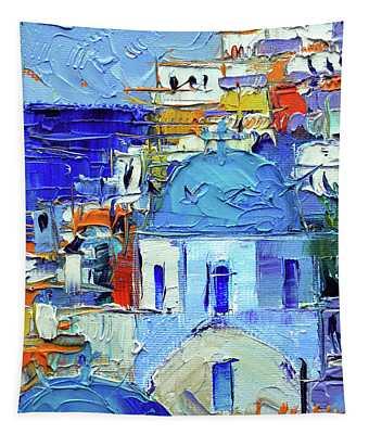 Santorini Blue Cupolas - Mini Cityscape 10 - Palette Knife Oil Painting Tapestry