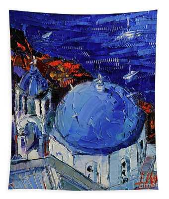 Santorini Blue Domed Church - Mini Cityscape 06 Tapestry