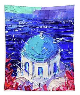 Santorini Church Cupola - Mini Cityscape 11 - Palette Knife Oil Painting Tapestry
