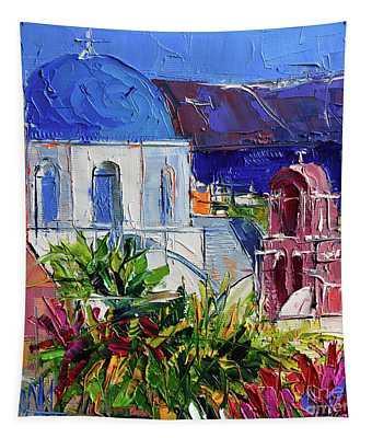 Santorini Church - Mini Cityscape 01 - Modern Impressionist Palette Knife Oil Painting Tapestry