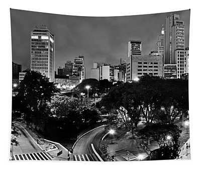 Sao Paulo Downtown At Night In Black And White - Correio Square Tapestry