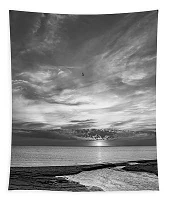 Sauble Beach Sunset 6 Bw Tapestry