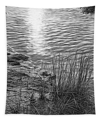 Sauble Beach Sunset - Rivulet And Dune Grass Bw Tapestry
