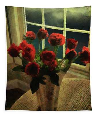Scarlet For A Stormy Night Tapestry