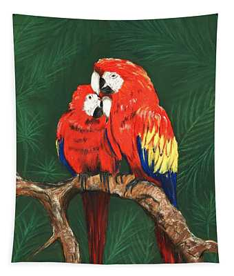 Tapestry featuring the painting Scarlet Macaws by Anastasiya Malakhova