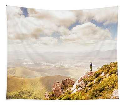 Scenic View Of Mt Zeehan, Tasmania, Australia Tapestry