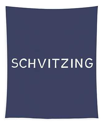 Schvitzing Navy And White- Art By Linda Woods Tapestry