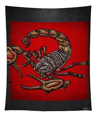 Scorpion On Red And Black  Tapestry