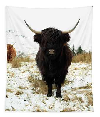 Scottish Black Highland Coo Tapestry