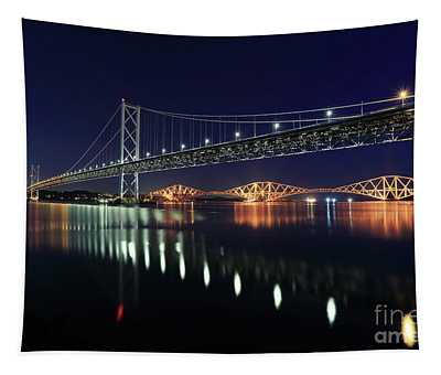 Scottish Steel In Silver And Gold Lights Across The Firth Of Forth At Night Tapestry