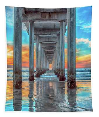Scripps At Sunset Vertical Tapestry