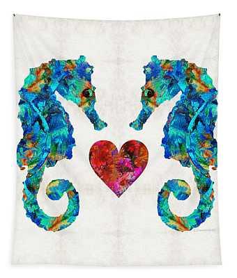 Sea Lovers - Seahorse Beach Art By Sharon Cummings Tapestry