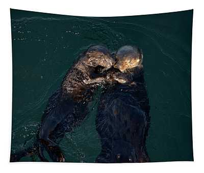 Sea Otters II Color Tapestry