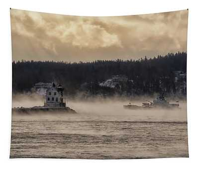 Sea Smoke At Rockland Breakwater Light Tapestry
