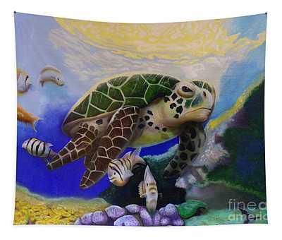 Sea Turtle Acrylic Painting Tapestry