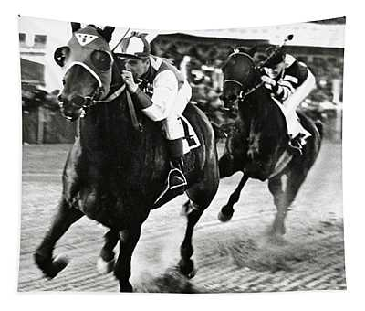 Seabiscuit And George Woolf Lead War Admiral And Jockey Charles Kursinger In The First Turn, Pimlico Tapestry