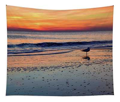 Seagull At Sunrise Tapestry