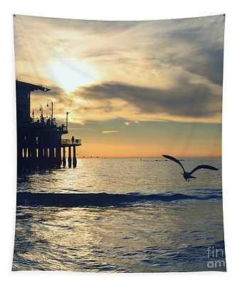 Seagull Pier Sunrise Seascape C2 Tapestry