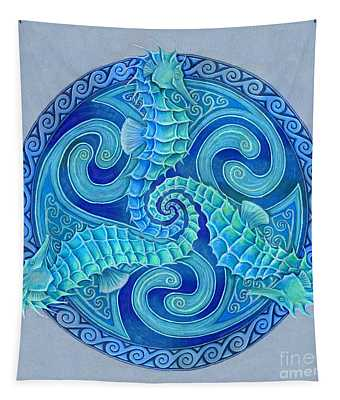Seahorse Triskele Tapestry