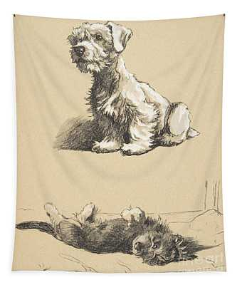 Sealyham And Rough Dachund Puppy, 1930 Tapestry