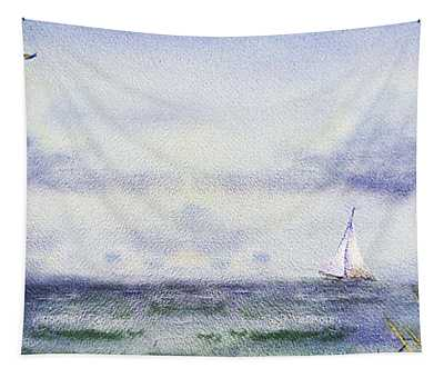 Seascape Elongated Painting With Sailboat Tapestry