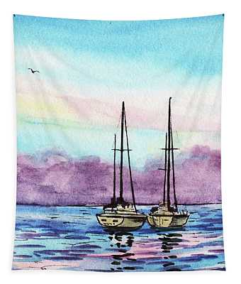 Seascape With Two Boats Watercolor Tapestry