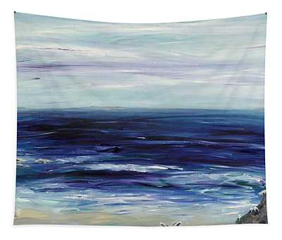 Seascape With White Cats Tapestry